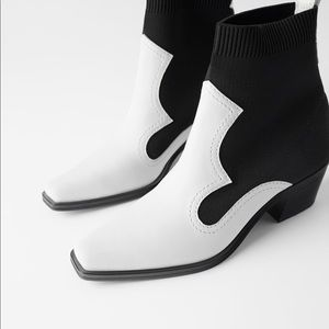 ZARA CONTRASTING STRETCH HEELED ANKLE BOOTS